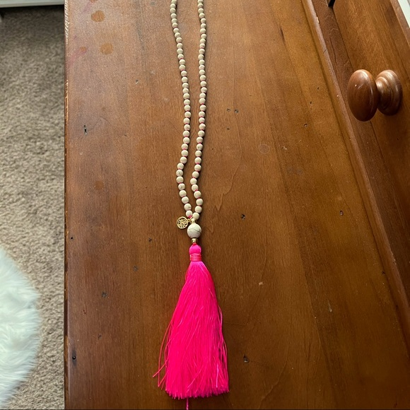 Lilly Pulitzer Pink Tassel Necklace